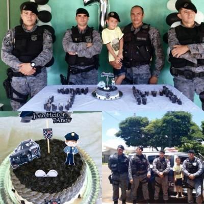 Criança de sete anos escolhe \'FORÇA TÁTICA\' como tema de aniversário em Deodápolis