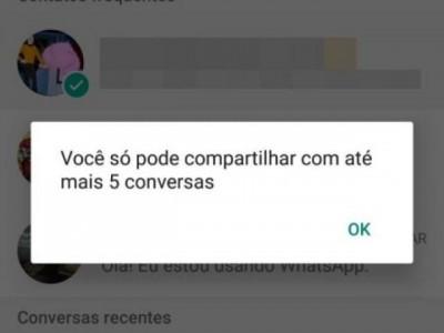 WhatsApp limita compartilhamento de mensagens para até 5 pessoas