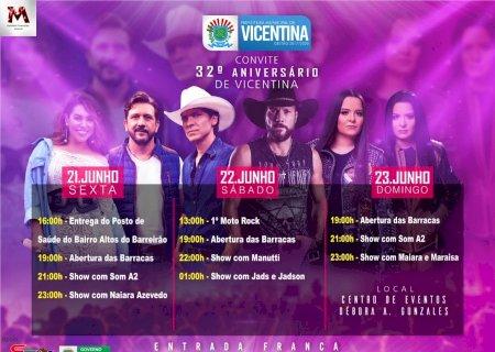 Vicentina 32 anos: sexta-feira têm shows com Som A2 e Naiara Azevedo; Veja a programação