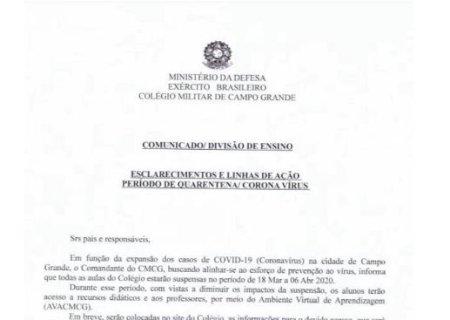 Colégio Militar de Campo Grande suspende aulas a partir de quarta-feira