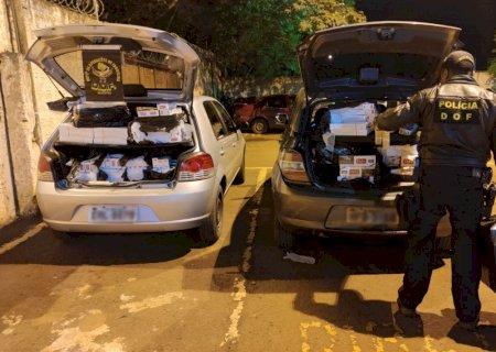 Carga de cigarros contrabandeada do Paraguai é apreendida e dois são presos em Deodápolis