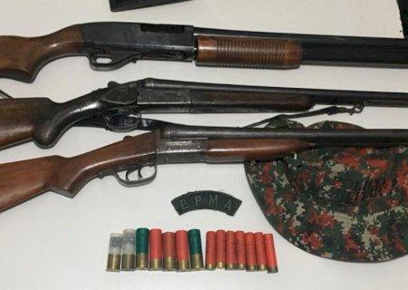 Acampamento de caçadores é descoberto e armas de caça de grosso calibre apreendidas em Deodápolis