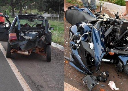 Acidente deixa motociclista em estado grave na BR 376 saída de Glória de Dourados para Jateí