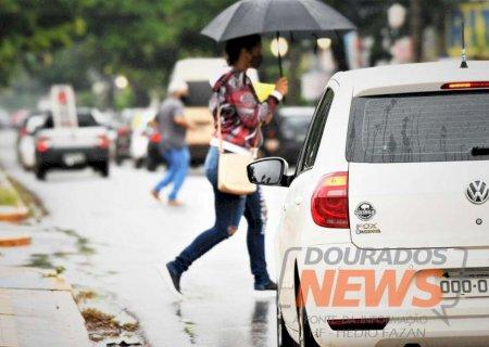 Quarta-feira com previsão de mais chuva e alerta de tempestade em Dourados e região