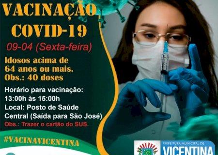 VICENTINA: Idosos de 64 anos ou mais pode tomar vacina nesta sexta e sábado será  2ª dose aos quem já vacinaram