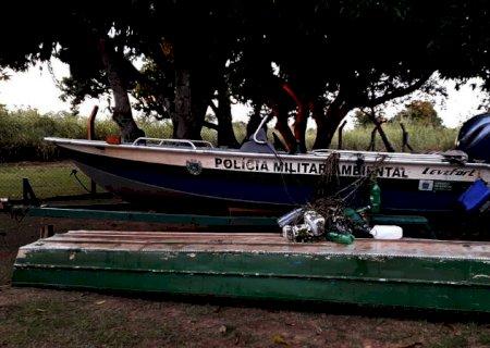 Polícia apreende embarcação e petrechos ilegais de pesca no Parque das Várzeas do Rio Ivinhema