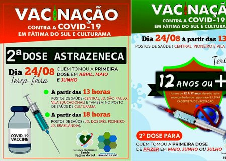 Fátima do Sul vacina a partir das 13hs, 2ª dose de AstraZeneca e Pfizer e 1ª dose para adolescentes de 12 anos