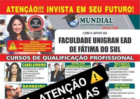Matrículas abertas para 12 cursos profissionalizantes em Fátima do Sul