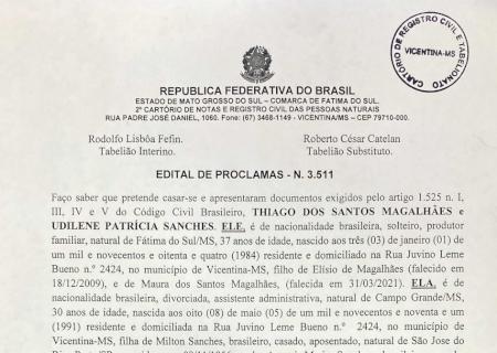 Cartório de Vicentina informa edital de proclamas de casamento